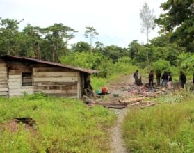 CAMP KKB   Camp tempat persembunyian KKB di Jalan Trans Nabire, Iwaka, Mimika, Papua, disergap aparat gabungan TNI/Polri, Kamis (9/4/2020). (Foto: Ist/Polres Mimika)